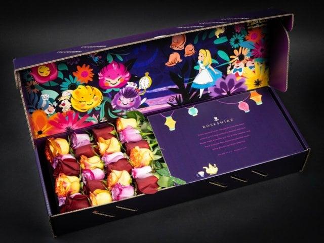 Caja de rosas de Rosehire inspirada en Alicia en el país de las Maravillas