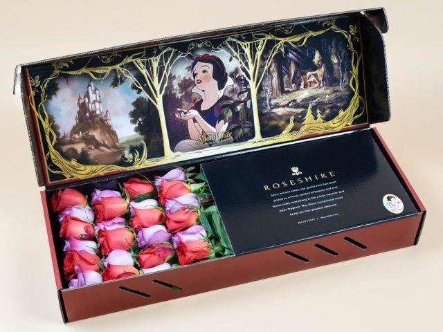 Caja de rosas de Rosehire inspirada en Blancanieves y los siete enanos