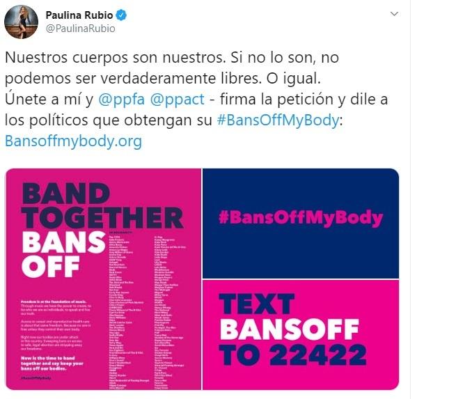 Comentario en Twitter sobre la petición de los famosos al aborto