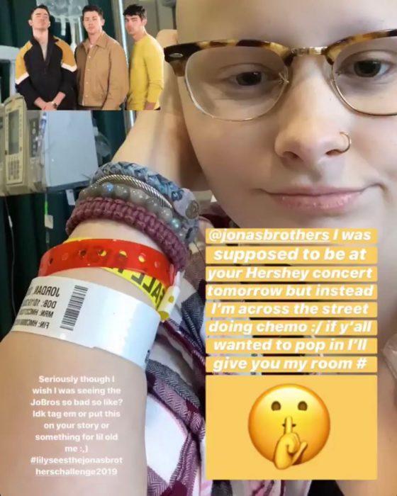 Lily Jordan, chica que invitó a los Jonas Brothers a que la visitaran en el hospital a través de su cuenta de Instagram