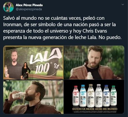 Tuit sobre Chris Evans en México comercial leche LALA