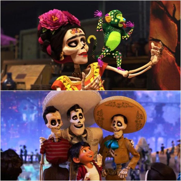 Escenas de la película Coco, Frida Kahlo, Miguel y Ernesto de la Cruz