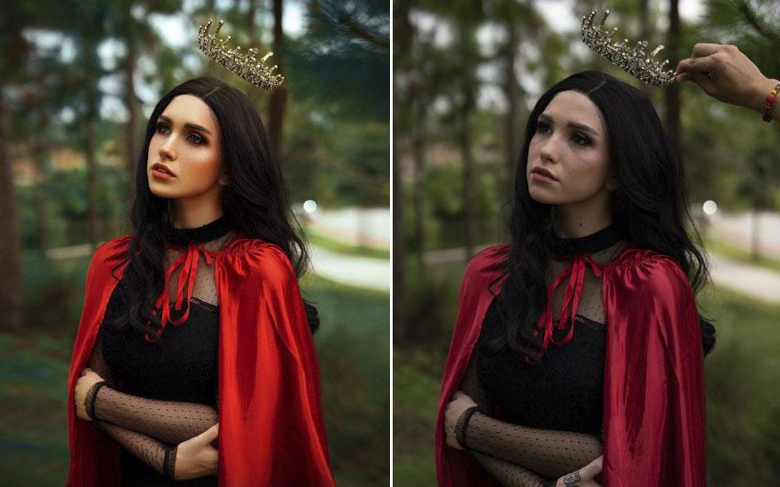 Colocándole corona a mujer