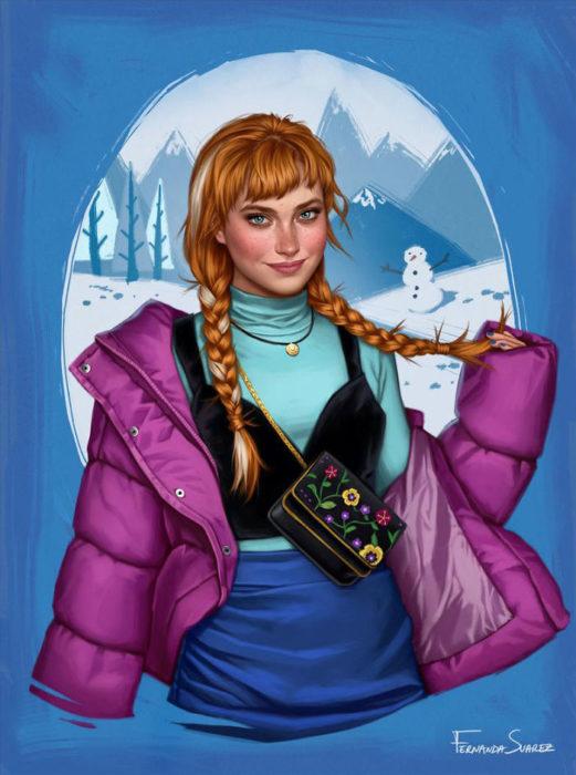 Ilustración de Fernanda Suárez inspirada en Anna, Frozen, Disney