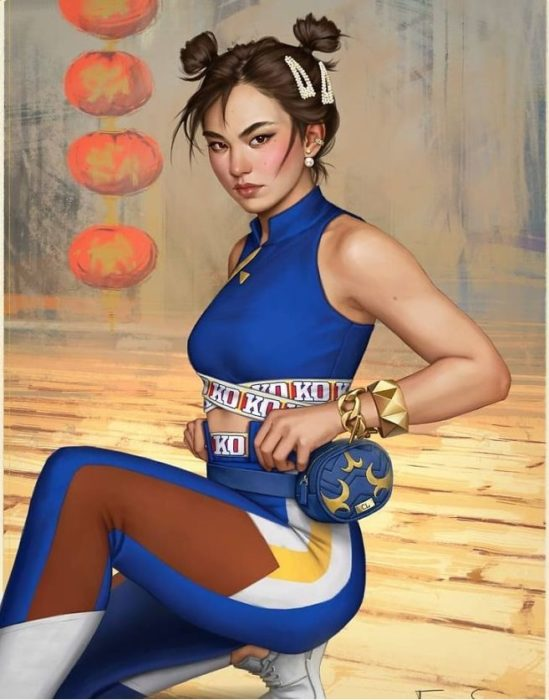 Ilustración de Fernanda Suárez inspirada en Chun- Li, The Kings Of Fighters
