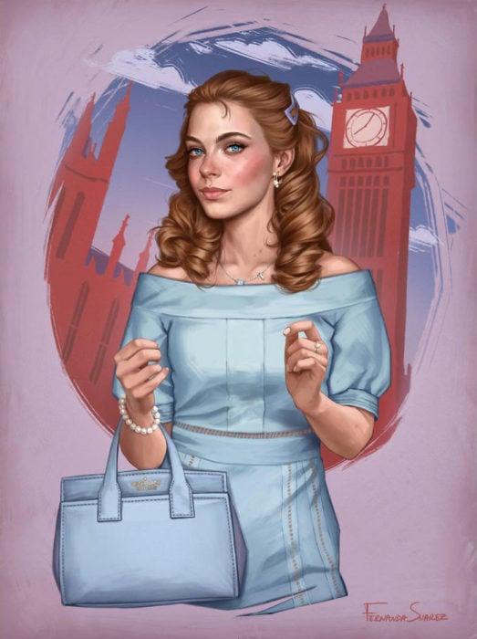 Ilustración de Fernanda Suárez inspirada en Wendy, Peter Pan, Disney