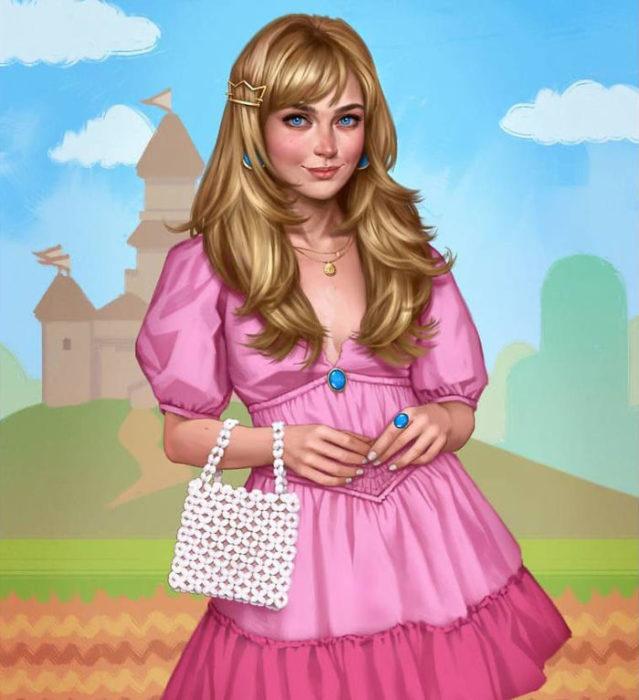 Ilustración de Fernanda Suárez inspirada en Princesa Peach, Mario Bross