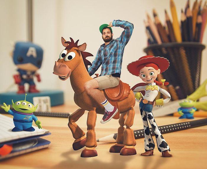 Ilustrador que hace montajes con personajes de Disney junto a tiro al blanco y jessy