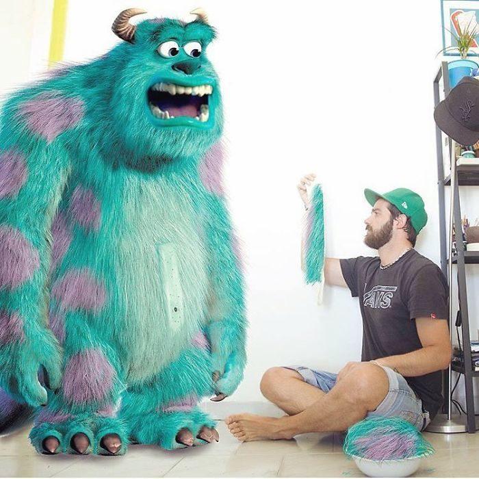 Ilustrador que hace montajes con personajes de Disney junto a Mike Wazowski de la película Monsters Inc