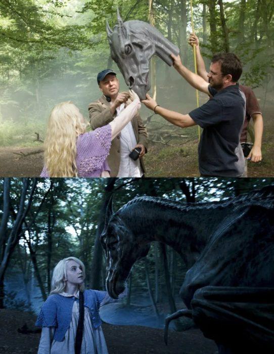 Escena detrás de cámaras de los efectos especiales de Harry Potter, Luna viendo un Thestral