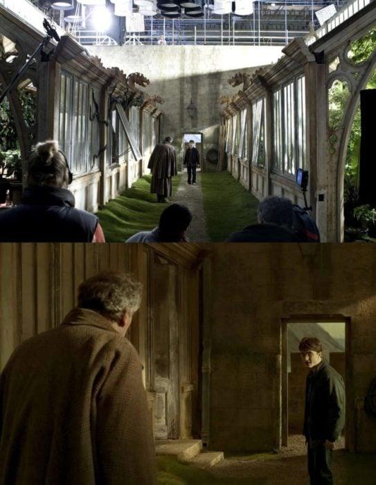 Escena detrás de cámaras de los efectos especiales de Harry Potter, Harry y el ministro viendo una araña