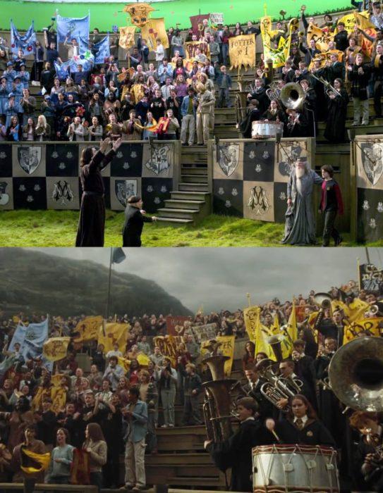Escena detrás de cámaras de los efectos especiales de Harry Potter, alumnos en un partido de Quidditch