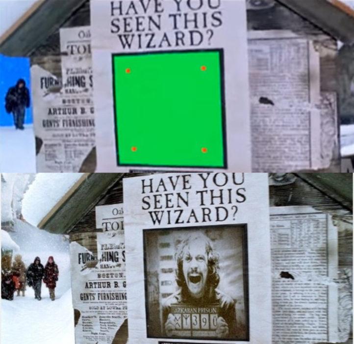 Escena detrás de cámaras de los efectos especiales de Harry Potter, periódico mágico con el rostro de Sirius Black