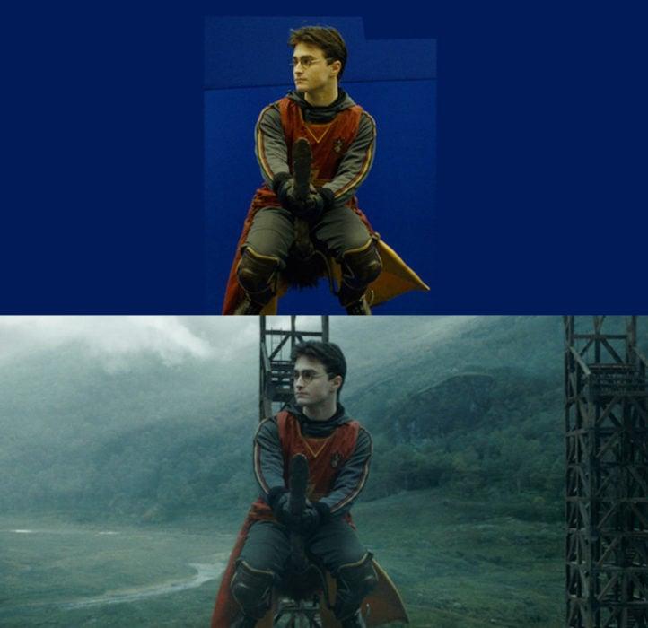 Escena detrás de cámaras de los efectos especiales de Harry Potter, Harry en un partido de Quidditch