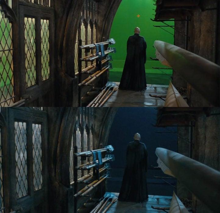 Escena detrás de cámaras de los efectos especiales de Harry Potter, Lord Voldemort