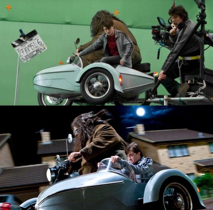 Escena detrás de cámaras de los efectos especiales de Harry Potter, Harry y Hagrid viajando en moto