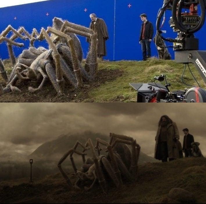 Escena detrás de cámaras de los efectos especiales de Harry Potter, Harry y Hagrid despidiéndose de Argon