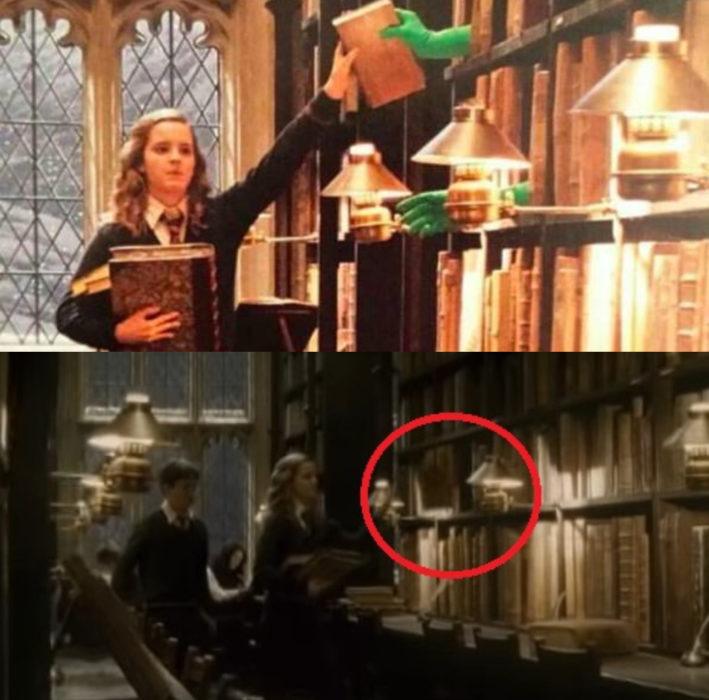 Escena detrás de cámaras de los efectos especiales de Harry Potter, Harry y Hermione en la biblioteca