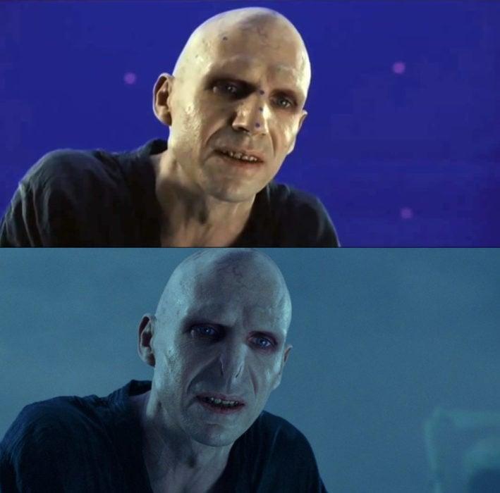 Escena detrás de cámaras de los efectos especiales de Harry Potter, Lord Voldemort sonriendo