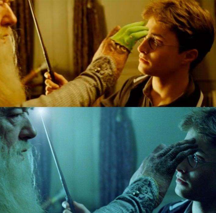 Escena detrás de cámaras de los efectos especiales de Harry Potter, Dumbledore con un maleficio en mano