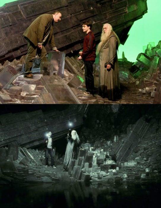 Escena detrás de cámaras de los efectos especiales de Harry Potter, Harry y Dumbledore peleando
