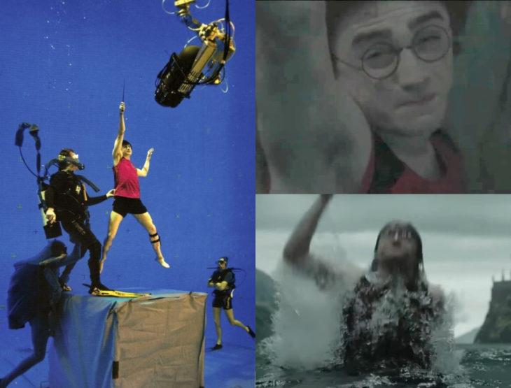Escena detrás de cámaras de los efectos especiales de Harry Potter, Harry luchando por salir del agua