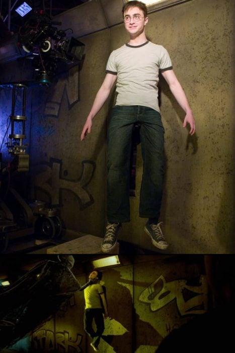 Escena detrás de cámaras de los efectos especiales de Harry Potter, Harry siendo atacado por un Dementor