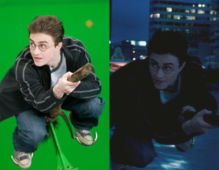 Escena detrás de cámaras de los efectos especiales de Harry Potter, Harry volando en escoba por Londres