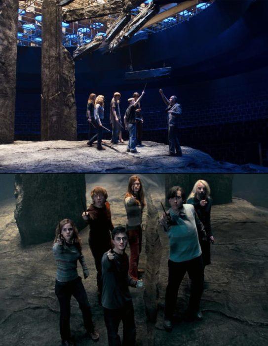 Escena detrás de cámaras de los efectos especiales de Harry Potter, El ejercito de Dumbledore peleando con los merodeadores