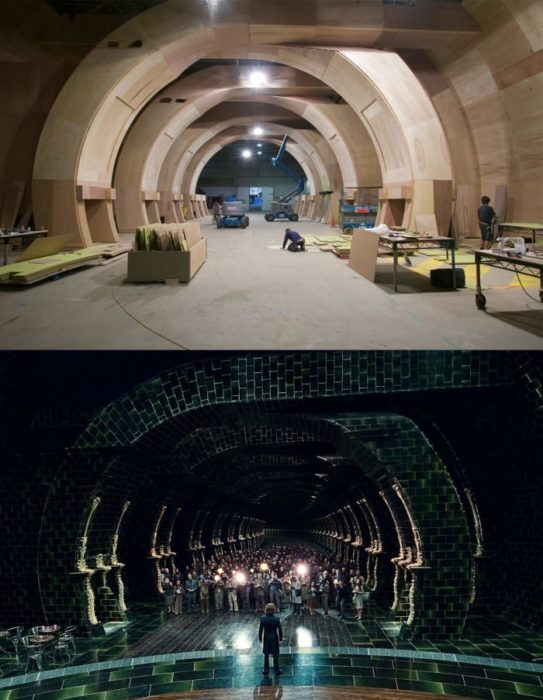 Escena detrás de cámaras de los efectos especiales de Harry Potter, el pasillo del ministerio de magia y hechicería