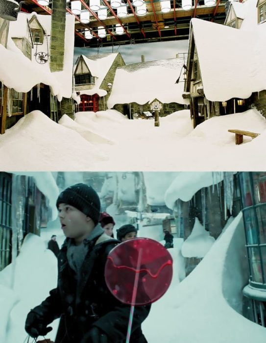Escena detrás de cámaras de los efectos especiales de Harry Potter, niños en la dulceria mágica