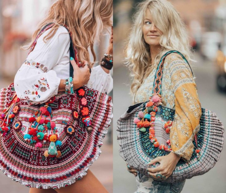Ropa estilo boho o hippie chic; bolsas excéntricas y coloridas