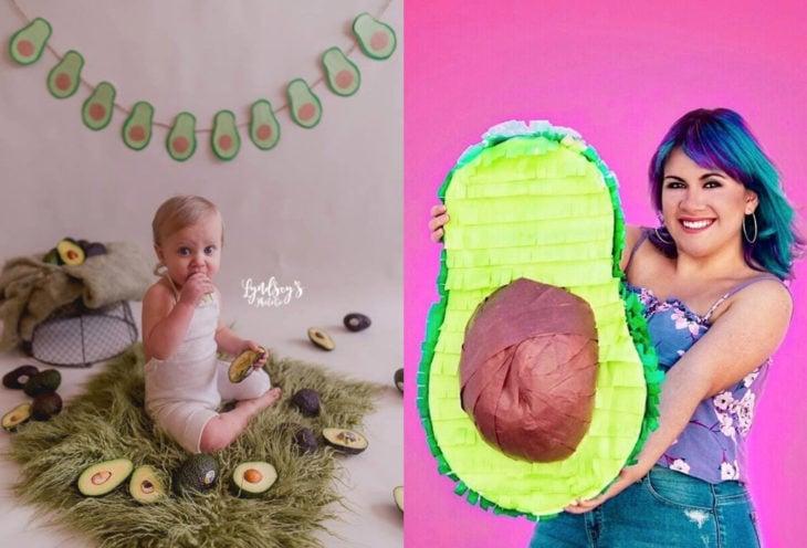 Fiesta temática de aguacate; sesión de fotos de bebé y de chica cumpleañera