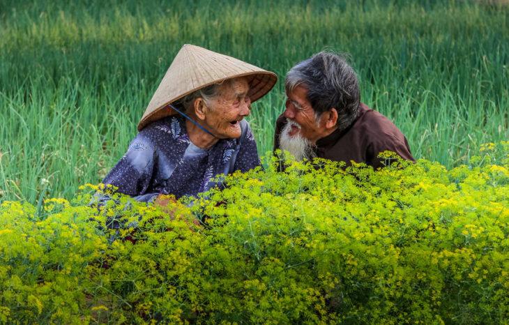 Pareja de ancianos viéndose mientras están en medio del campo