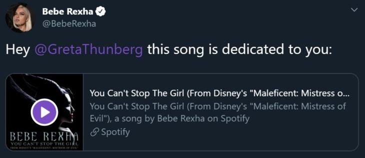 Bebe Rexha apoya a Gretha Thunberg