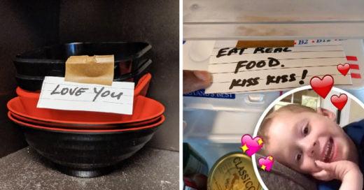 Hombre con ansiedad comparte notas que su novia le deja para combatirla