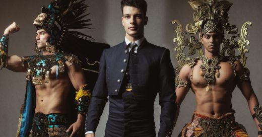 Hombres concursan en Mister Global y visten trajes regionales