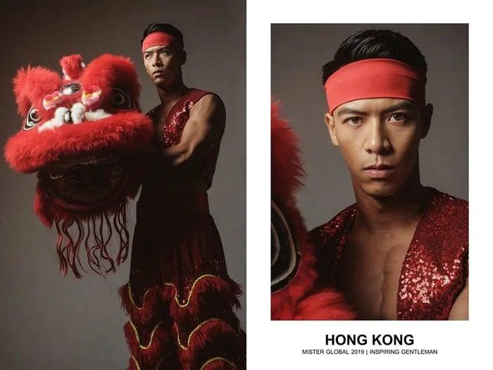 Hombre concursante de Mister Global se visten con su traje regional de Hong Kong