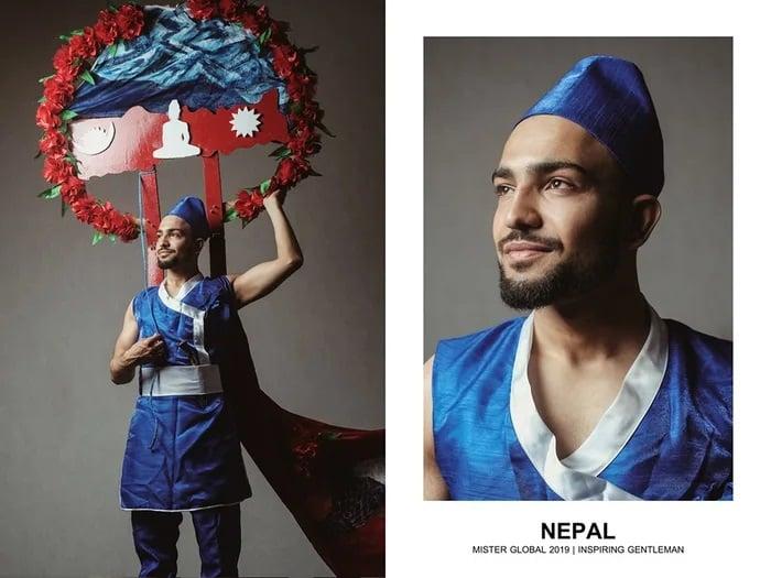 Hombre concursante de Mister Global se visten con su traje regional de Nepal