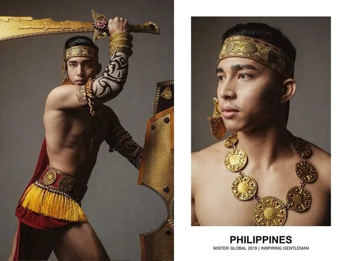 Hombre concursante de Mister Global se visten con su traje regional de Filipinas