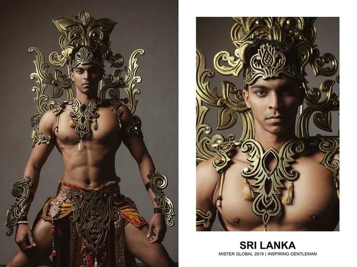 Hombre concursante de Mister Global se visten con su traje regional de República Democrática Socialista de Sri Lanka