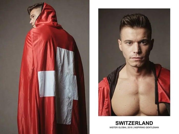 Hombre concursante de Mister Global se visten con su traje regional de Suiza