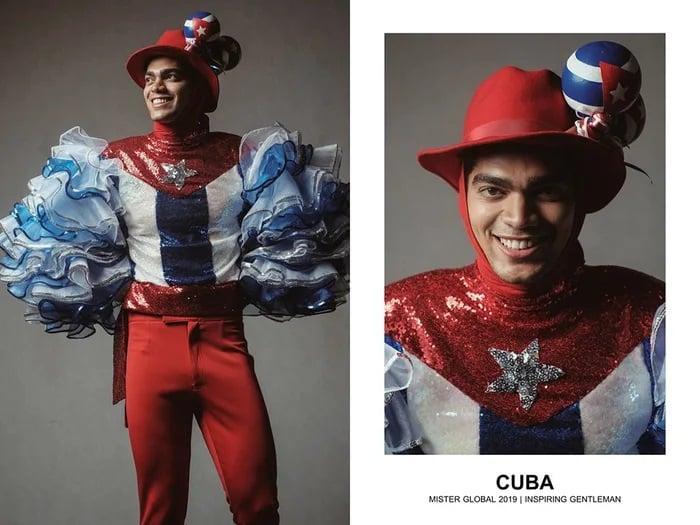 Hombre concursante de Mister Global se visten con su traje regional de Cuba