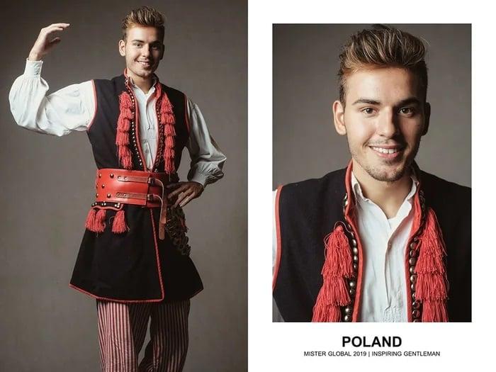 Hombre concursante de Mister Global se visten con su traje regional de Polonia
