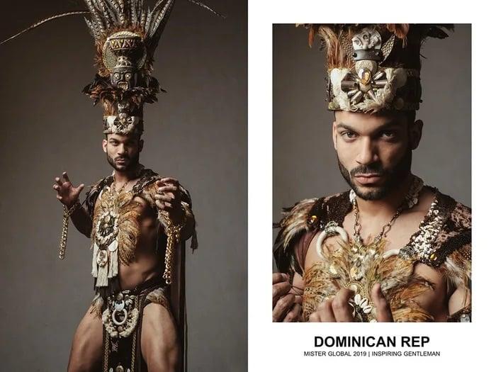 Hombre concursante de Mister Global se visten con su traje regional de República Dominicana