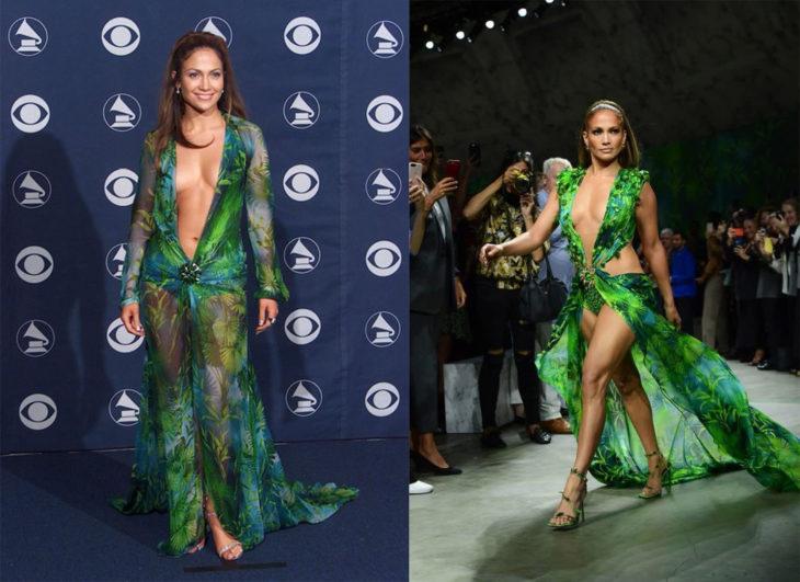 Comparación de Jennifer Lopez antes y ahora usando el vestido de a jungla