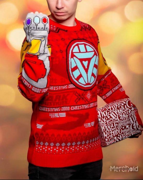 Suéter feo, tejido, rojo, amarillo, gris, inspirado en Iron-Man, Marvel