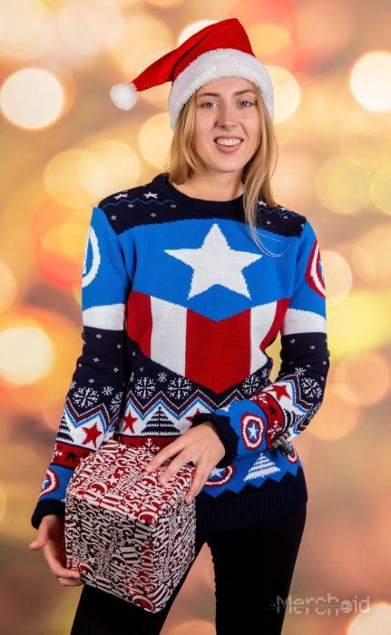 Suéter feo, tejido, azul cielo, rojo, blanco, inspirado en Capitán América, Marvel