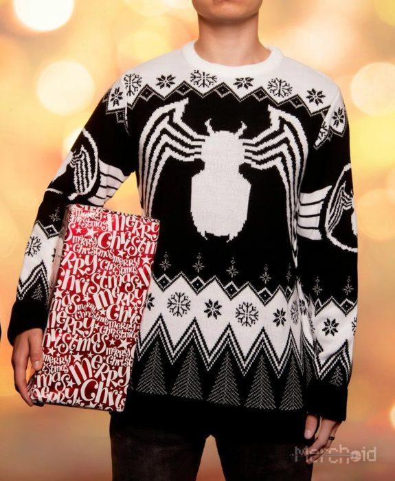 Suéter feo, tejido, blanco, negro, inspirado Venom, Marvel