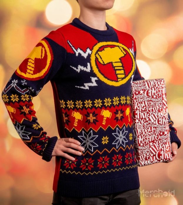 Suéter feo, tejido, azul marino, rojo, blanco, amarillo, inspirado en Thor, Marvel